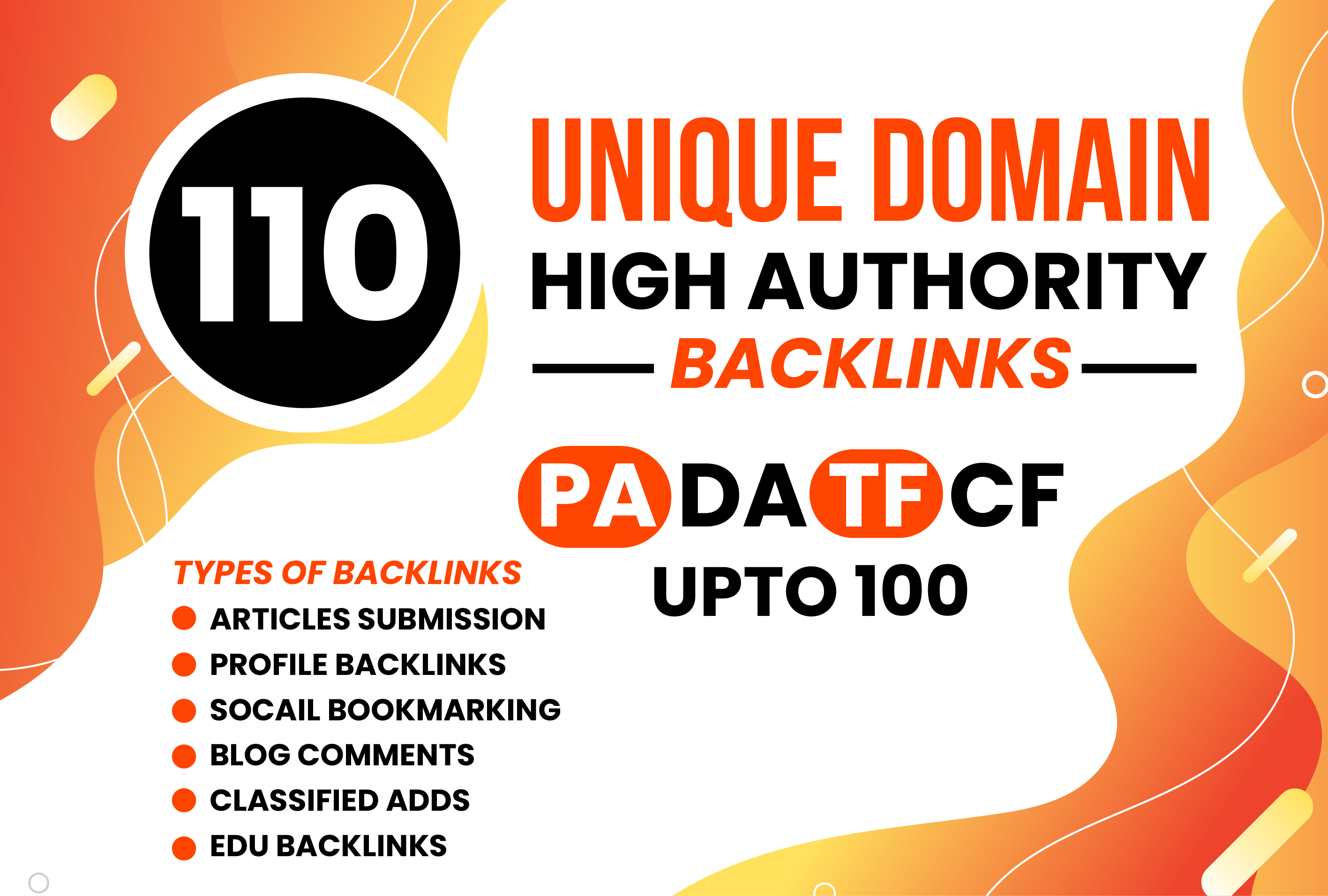 Increase Ranking with Powerful 110 Unique Domain High Authority Backlinks PA DA TF CF Upto 100