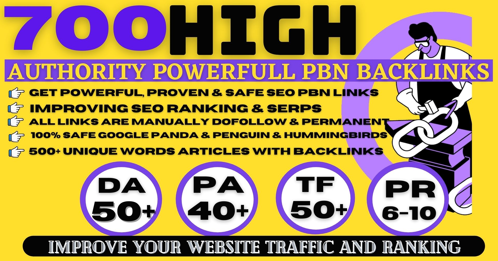 Permanent 700+ PBN Backlinks High DA50+ PA40+ PR5+ Do-follow Links Homepage Unique Web2.0 With websi