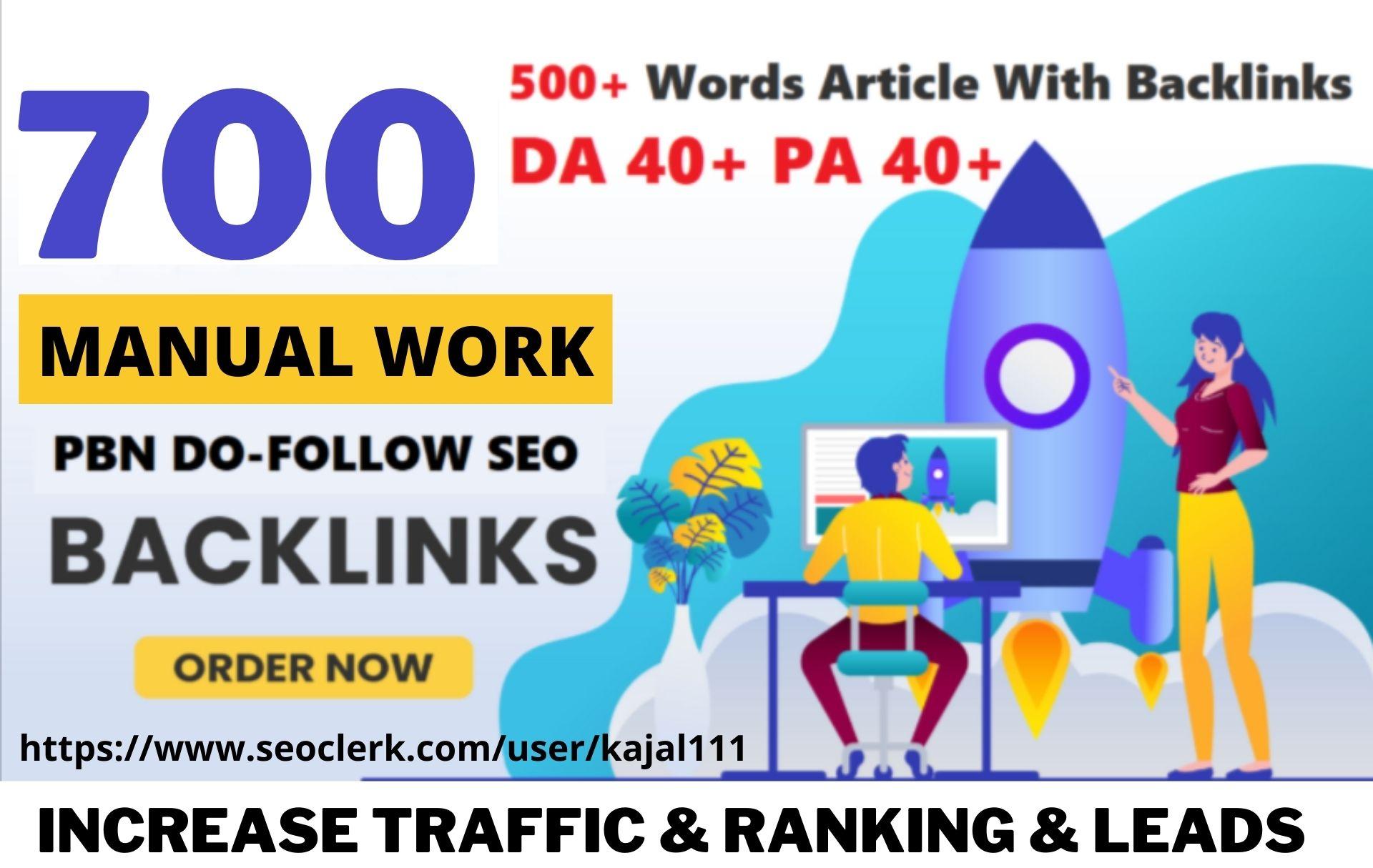 700+ Permanent PBN Backlinks Web2.0 With High DA 40+PA40+ Do-follow Links Homepage Unique website