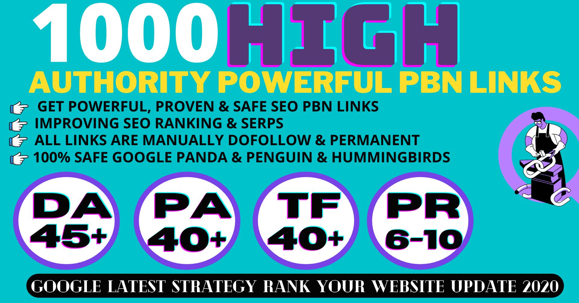 build 1000+ Permanent PBN Backlinks Web2.0 With High DA45+PA40+PR6+ Links Homepage Unique website