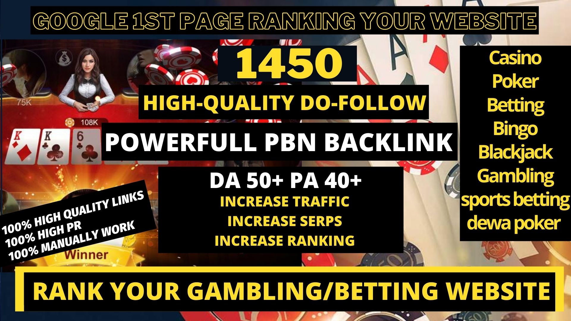 buy one get one package free 1450 PERMANENT PBN Casino/Gambling/Poker/Judi BOLA RELATED UNIQUE SITEE