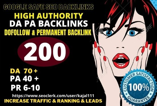 Build 200+ Permanent pbn Backlink with High DA, 70+ PA40+, TF,  CF,  with web2.0 unique website