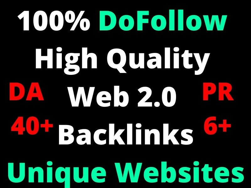 Build 1500 Permanent High Quality Web2.0 Backlink with high DA 40 PA 35 PR 6 Unique Websites