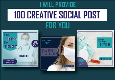 I will provide you 100 stunning and most creative social post.
