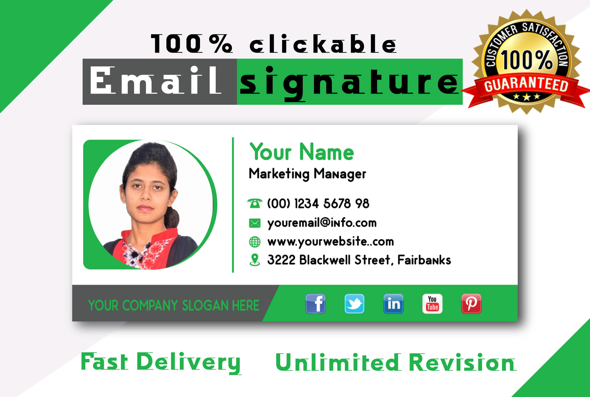 I will make a clickable email signature for outlook, gmail etc