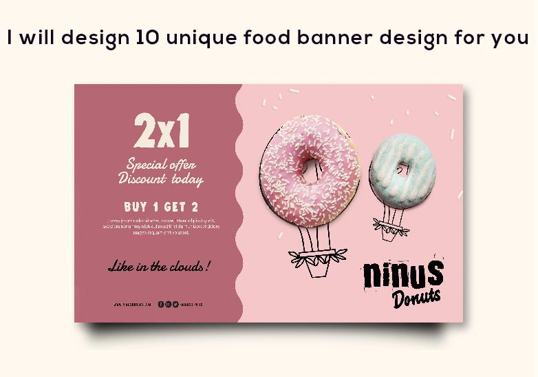 I will design 10 unique food banner design for you