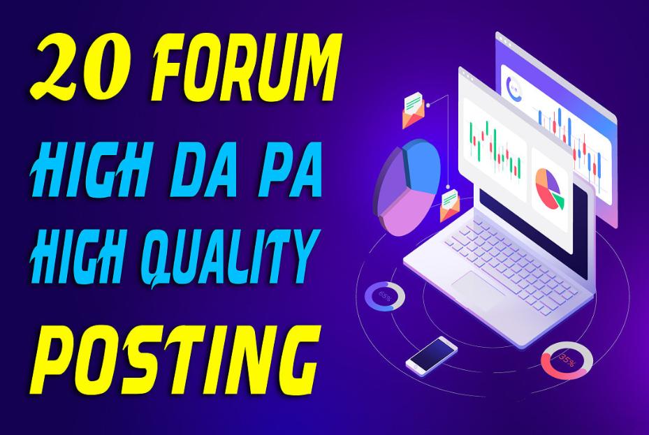 20+ High Quality Niche Relevant Forum Posting Backlinks