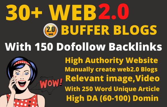I will create 30 super web2 0 buffer blogs with 150 dofollow backlinks