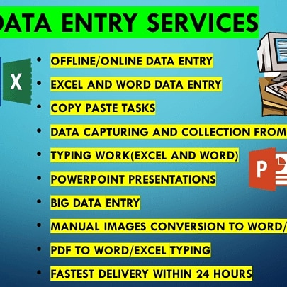 I will provide quality data entry for 20 pages in 3