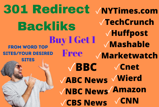 301 redirect permanent backlink from top sites forbes,  nytimes,  bbc,  marketwatch,  huffpost,  cnn.