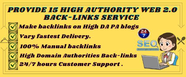 Provide 15 High Authority Web 2.0 Backlinks Service