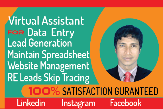 I will be your virtual assistant for b2b lead generation and web research