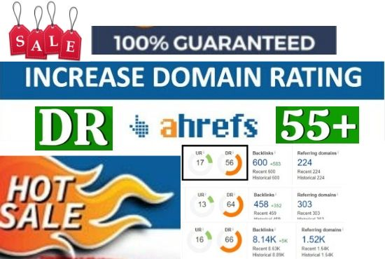 Increase domain rating DR Ahref 50 plus with 100 guaranteed