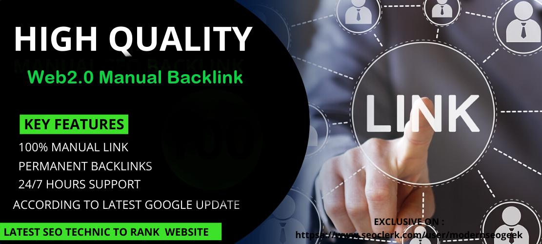 I will create 20 manual web 2.0 backlinks
