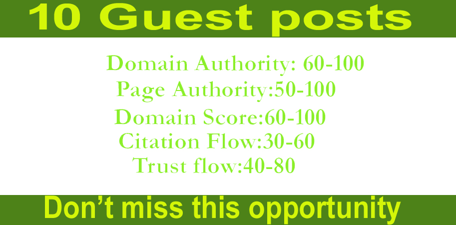 I will do write and publish 10 guest posts on high quality backlinks