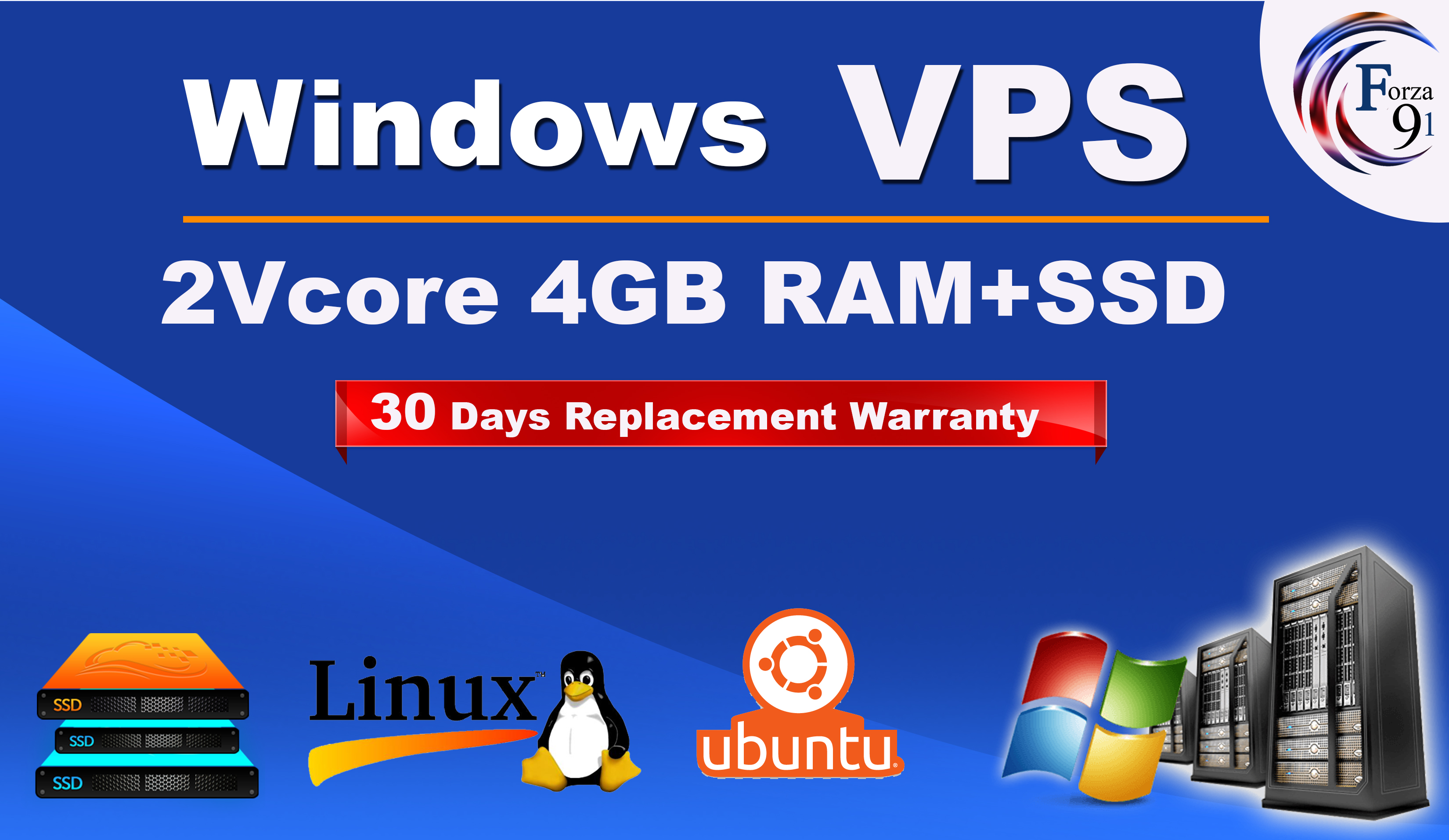 Windows - linux RDP VPS 2Vcore 4Gb VPS with SSD for 30 days