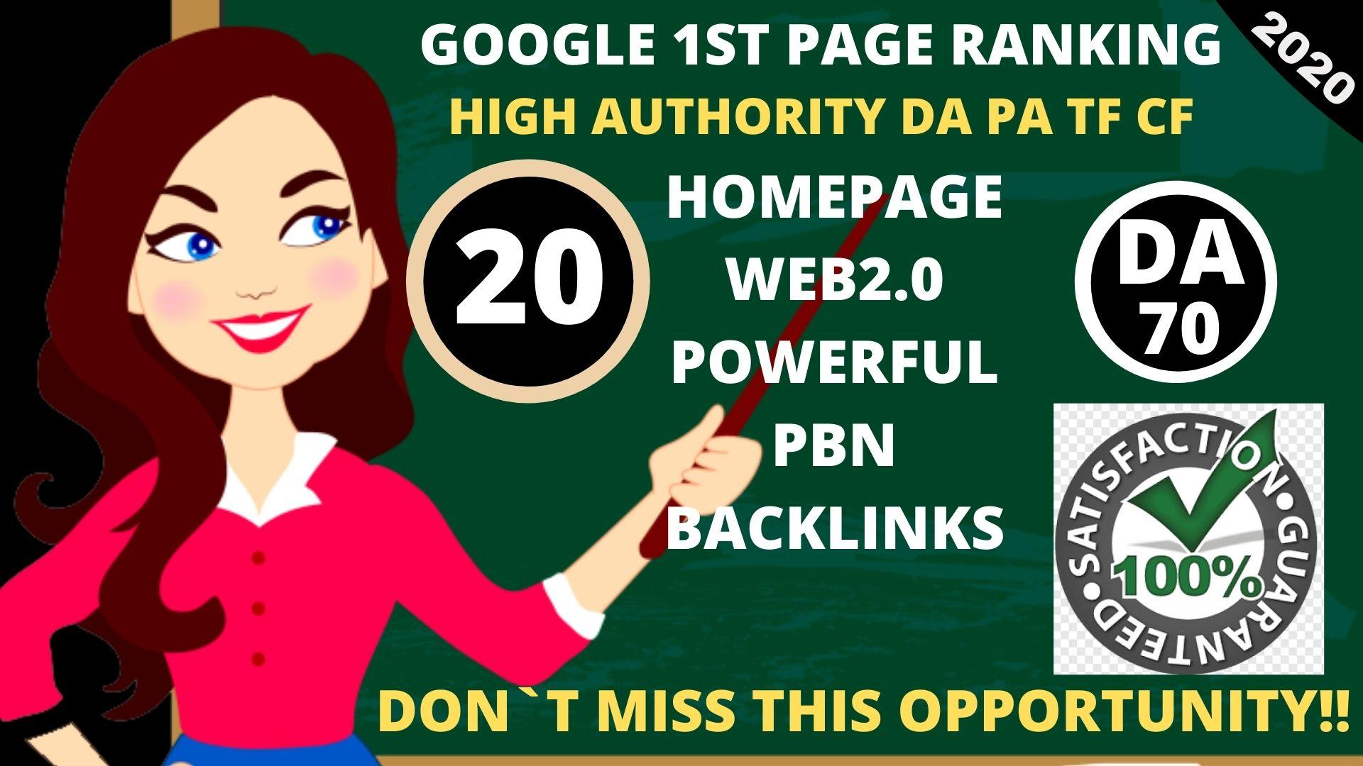 DA 70+ PA Web2.0 20 Pbn Backlink in 100 dofollow in unique site