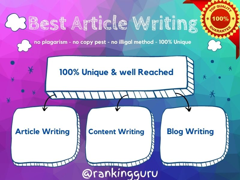 I will write an excellent 1000 - 1500 words article on any topic
