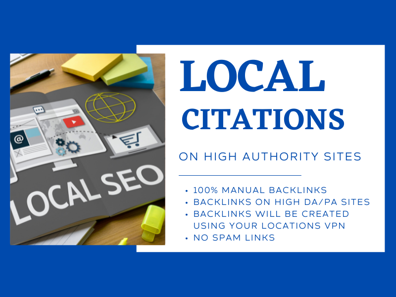 Get 50 high authority live local citations,  business listing backlinks for local seo ranking