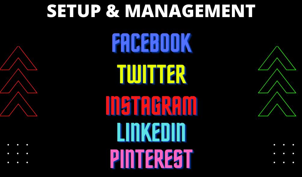 I will set up your social media accounts