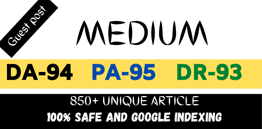 I will do write and publish guest blog post on medium. com DA94 & DR93
