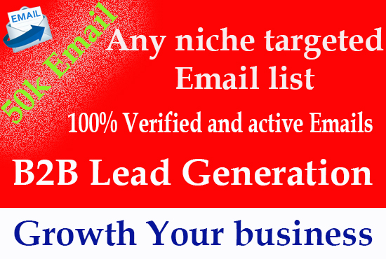 I will provide niche targeted email list for your business,  b2b,  b2c