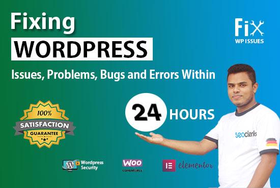 I will fix website errors,  elementor bugs,  woocommerce errors within 24 hours