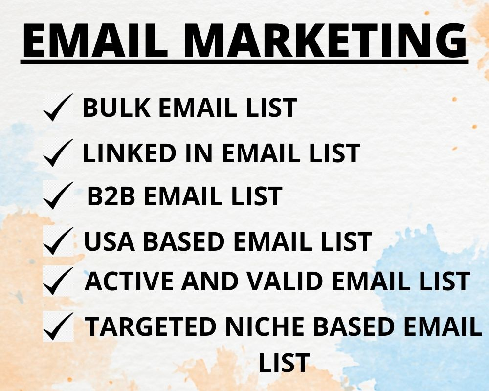 I will provide 1000 bulk email list, targeted niche and verified email list for email marketing