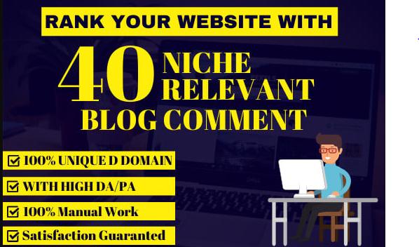 I will do 40 blog comments backlinks high seo service rank on google