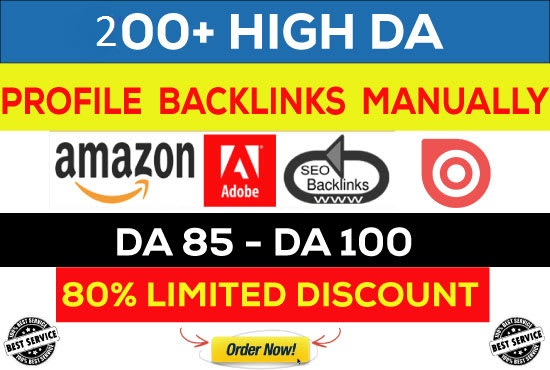 I will manually create Qualified 100 High DA 85+ profile back links for you.