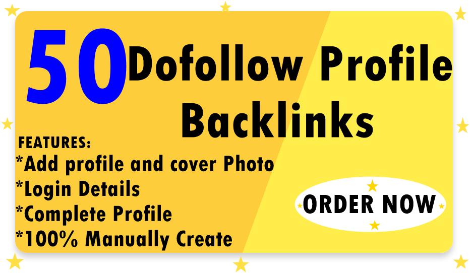 I will create 50 SEO profile backlinks on da 80