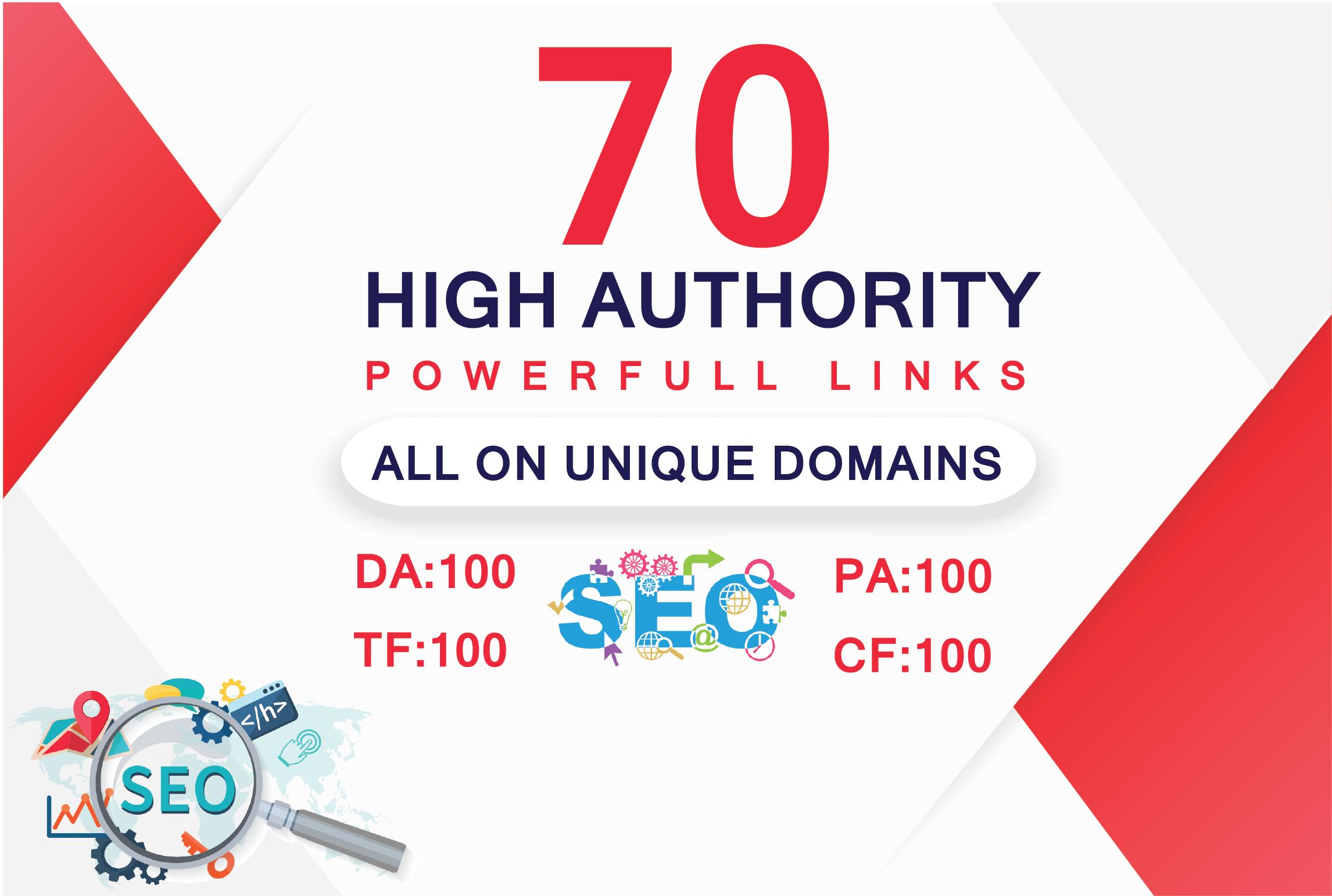 I will do 70 uinque domain dofollow backlinks with da 100