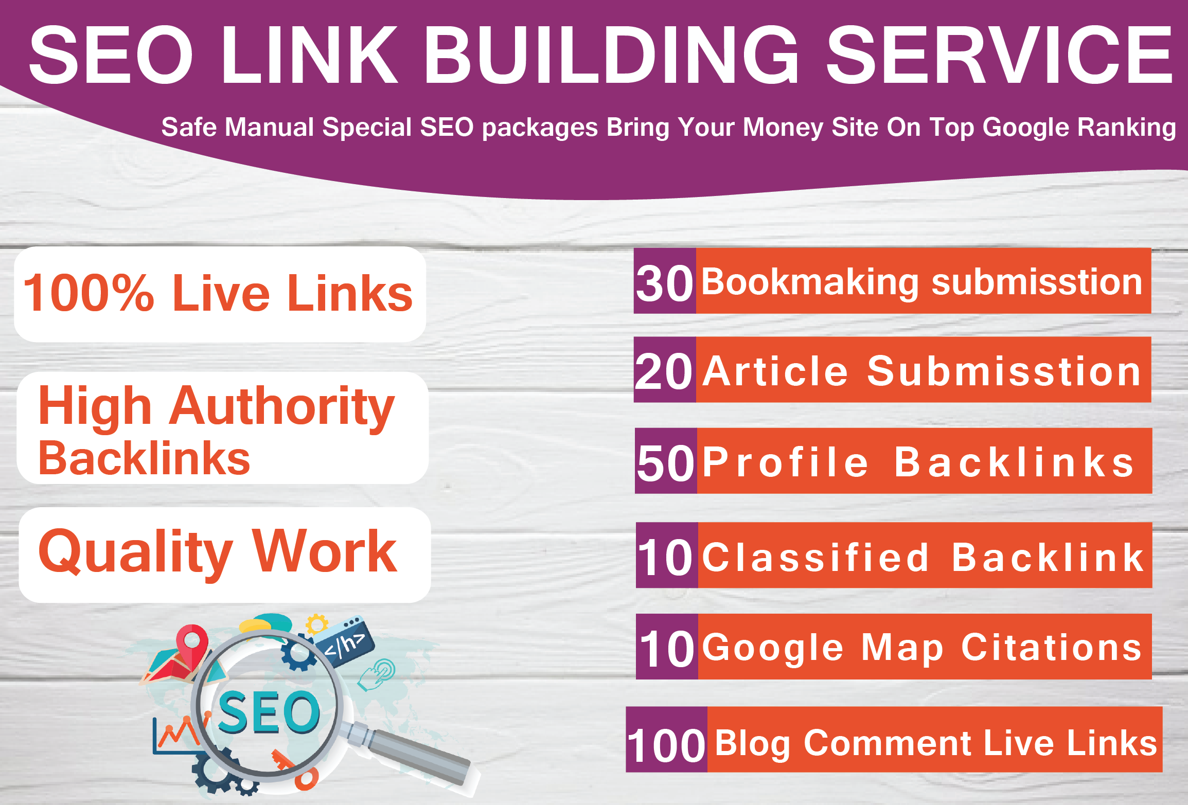 i will provide seo link building service high quality backlinks