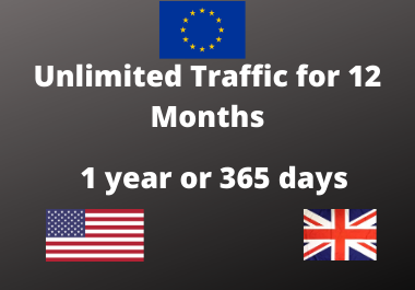 High quality Traffic for 12 Month USA,  UK,  Europe high quality,  Low bounce rate,  Targeted organic