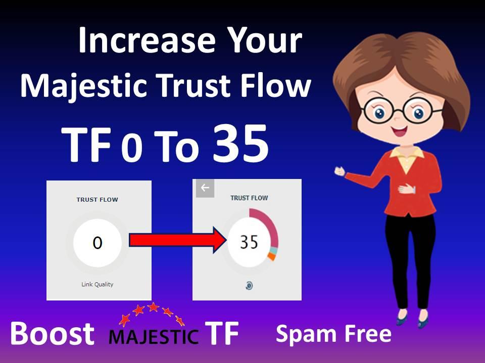 I will increase majestic trust flow tf 30 plus money back guaranteed