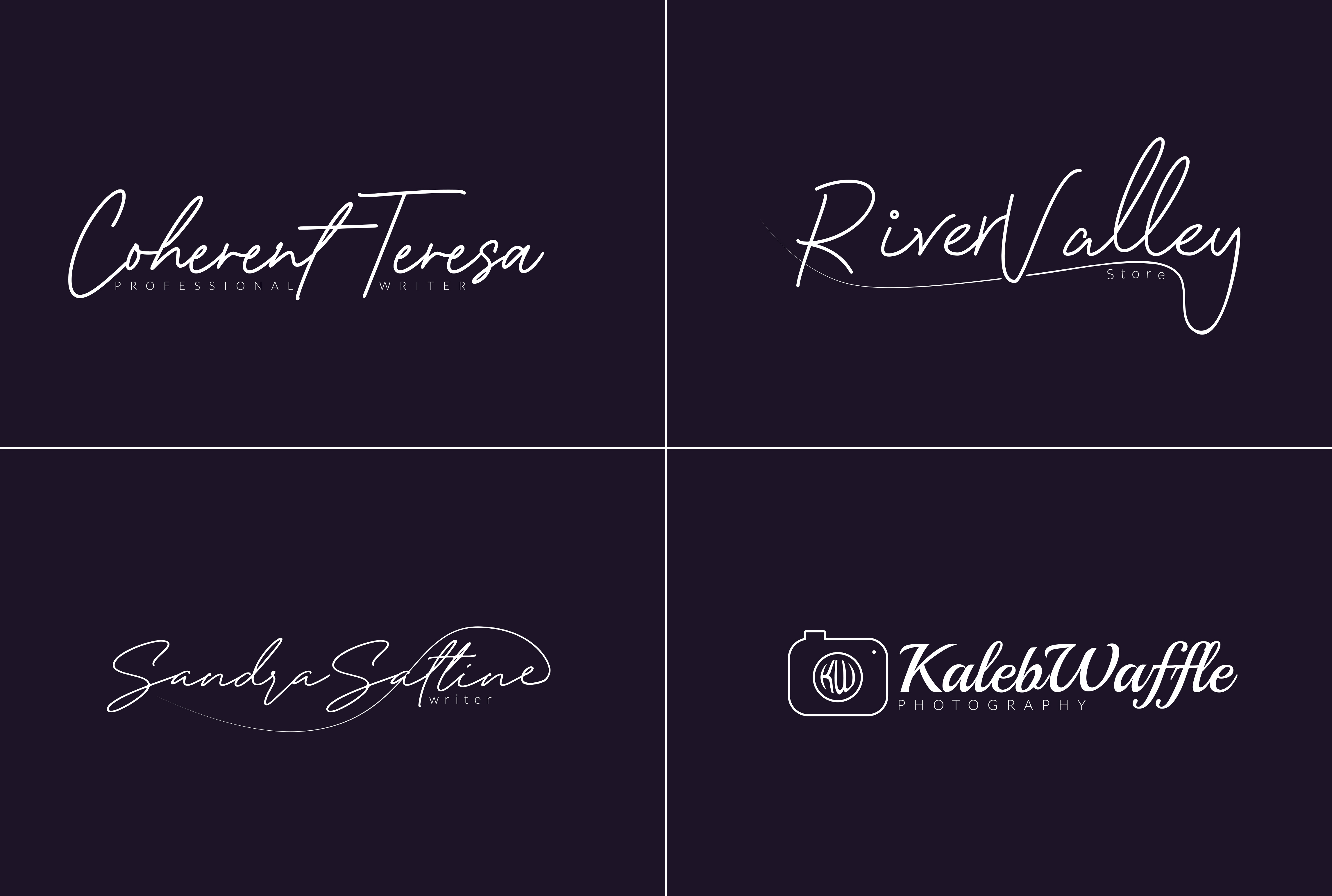 I will do clean signature logo,  script logo,  handwritten or text logo in 12hrs