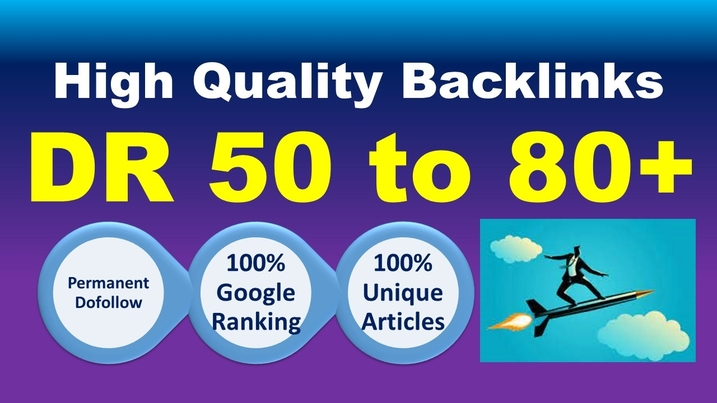 I will build seo backlink on DR 50 to 80 dofollow indexed website