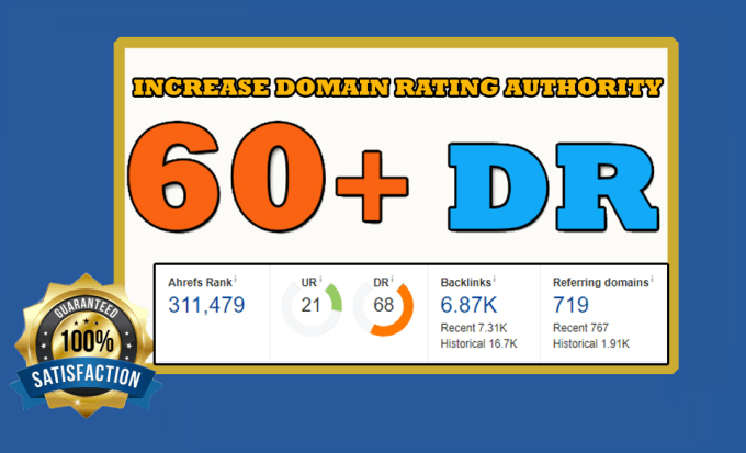 I will increase domain rating of your website ahrefs dr 50+