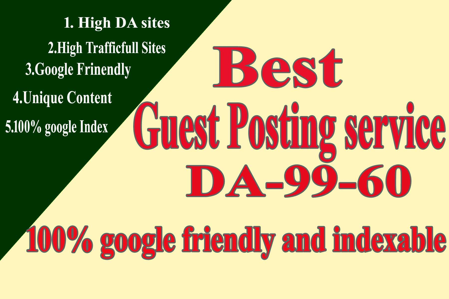 I will do 3 high DA guest post for high backlinks & google rank