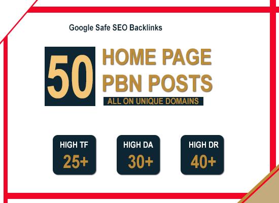 50 High Quality Da Pa Tf Cf Homepage Pbn Backlinks