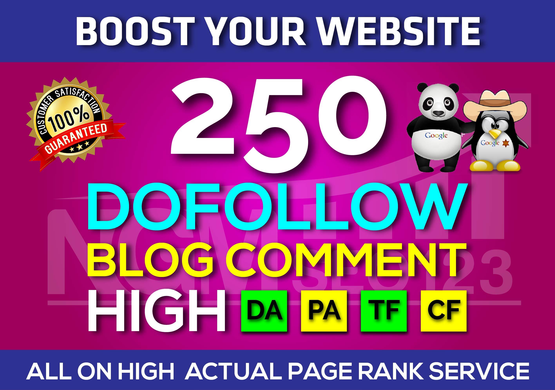 I will do 250 high da pa blog comments backlinks