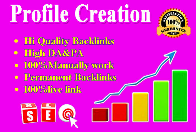 I will provide 75 profile creation backlinks with high da pa sites