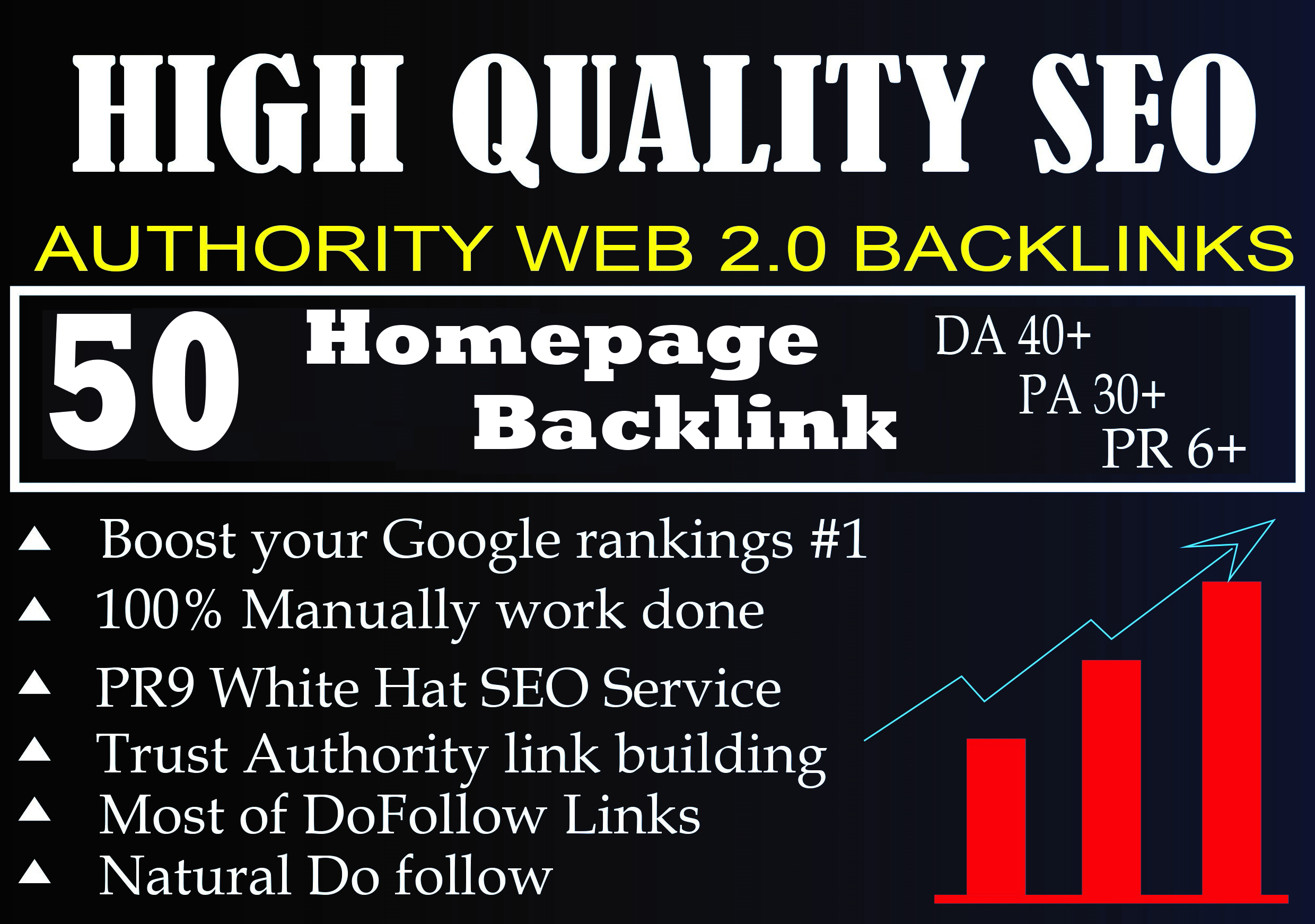 DA 40+ PA 30+ PR 6+ Web2.0 50 homepage Backlink in 100 dofollow in unique site