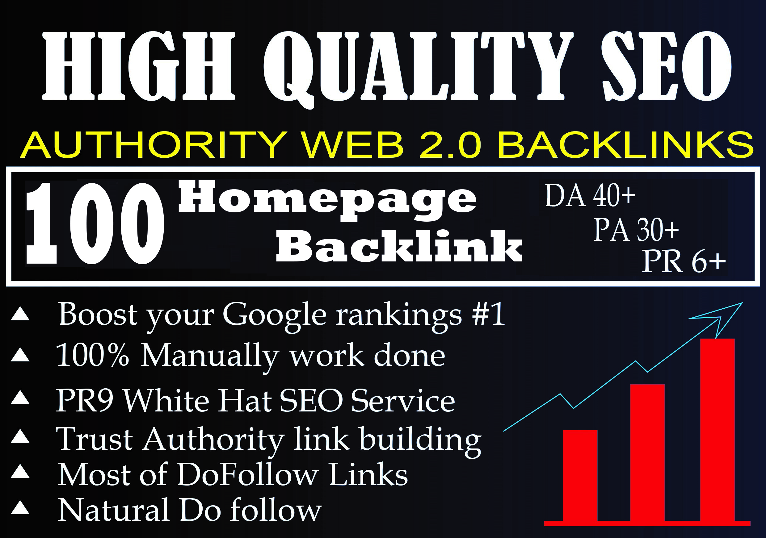 DA 40+ PA 30+ PR 6+ Web2.0 100 homepage Backlink in 100 dofollow in unique site