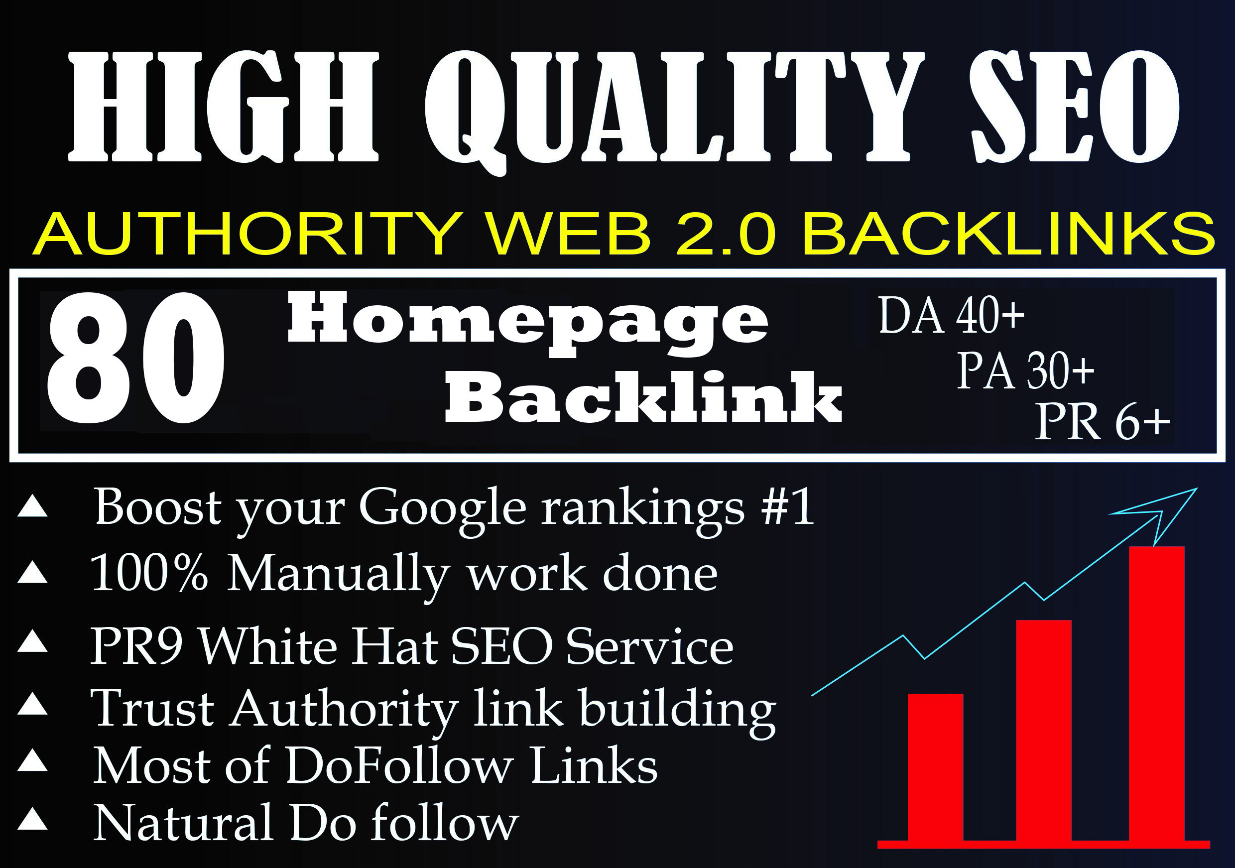 DA 40+ PA 30+ PR 6+ Web2.0 80 homepage Backlink in 100 dofollow in unique site