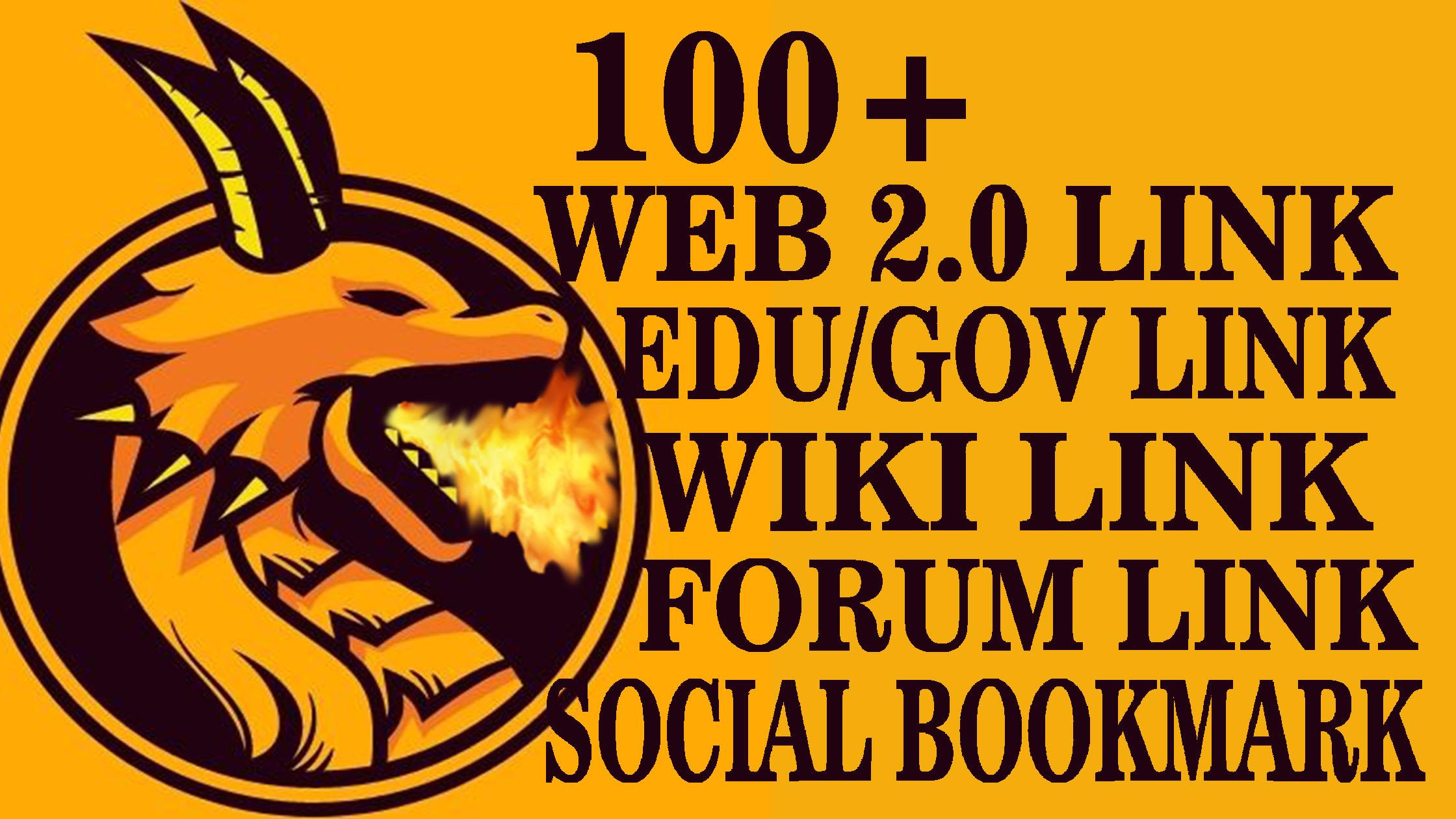 BUMPER PACKAGE, 100+ HIGH QUALITY WEB 2.0 LINK, EDU/GOV LINK, WIKI LINK, SOCIAL BOOKMARK & FORUM LINK