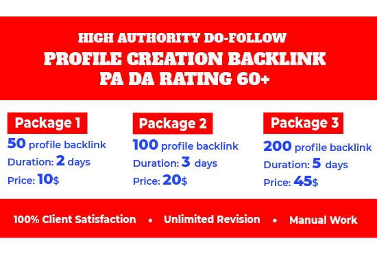 I will do 50 do-follow profile creation back-links