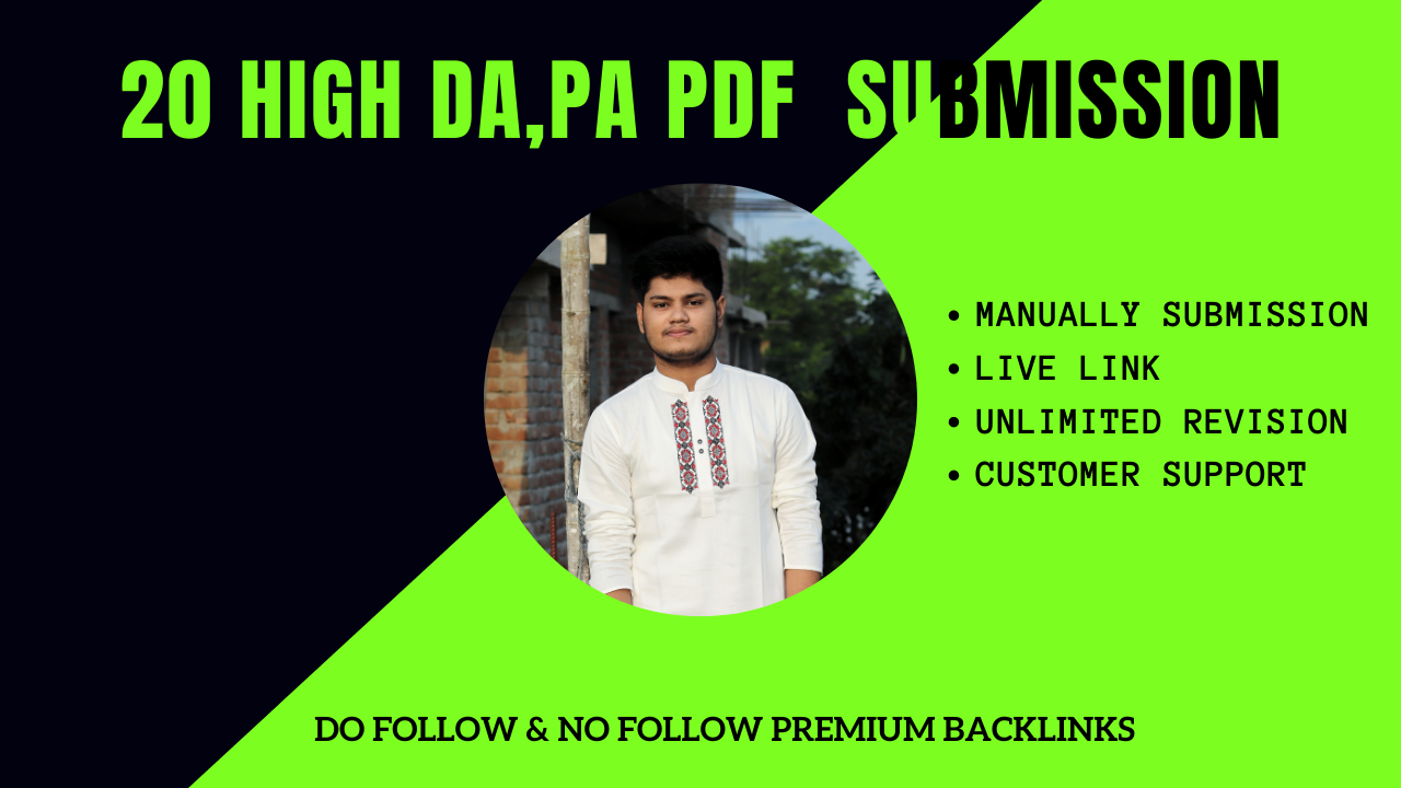 I will manually do PDF submission to top 20 high DA site with premium backlinks