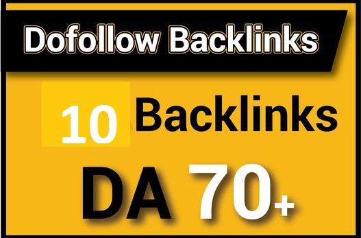 I will make high quality 10 DA 70 up Dofollow backlinks