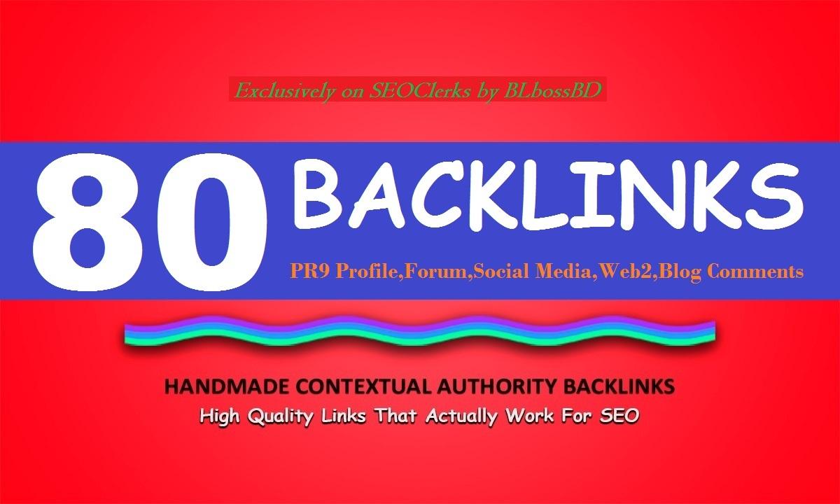 All In One 80 Manual Backlinks Web2, Profile,  Wiki, social, forum, edu Backlinks for SEO